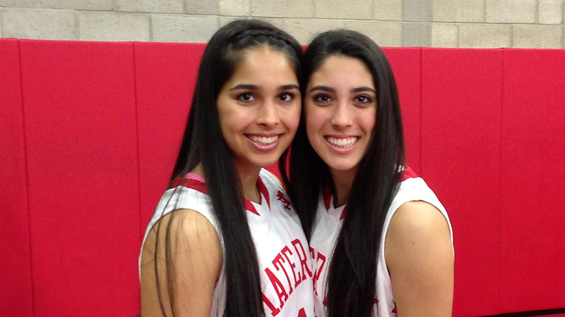 Andee Velasco, left, and Bianca Velasco are a year apart in age, but they claim to have twin-like telepathy on the basketball court.
