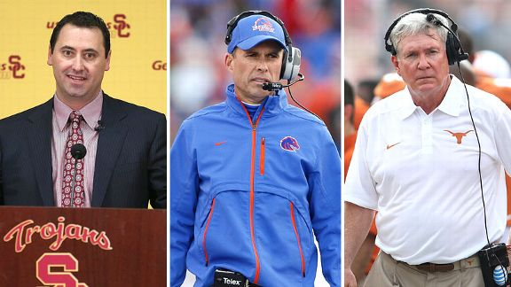 Steve Sarkisian, Chris Petersen and Mack Brown