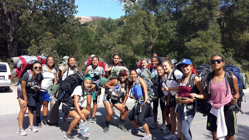 The caliber of talent for the women's soccer team at Evergreen continues to rise. Coach Felicia Perez's expectations for the players, seen here on a team backpacking trip, is for them to transfer to a four-year school eventually.