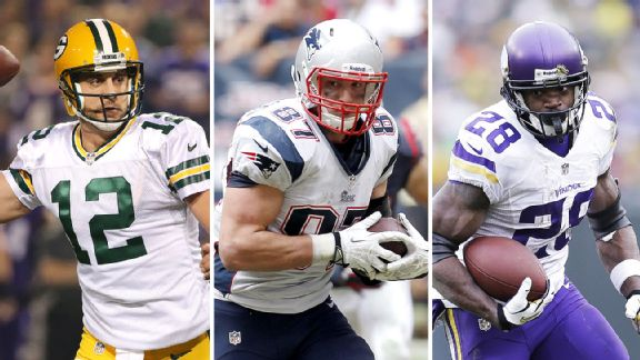 Aaron Rodgers, Rob Gronkowski, and Adrian Peterson