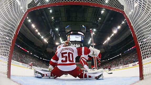 Jonas Gustavsson #50 of the Detroit Red Wings
