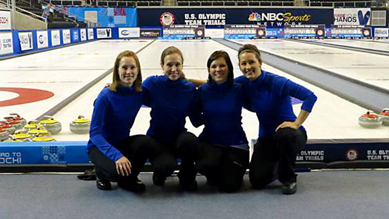 Cassie Potter (left) and teammates Jamie Haskell, Jackie Lemke, and Stephanie Sambor at the U.S. Olympic trials.