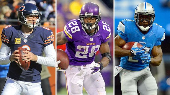 Jay Cutler, Adrian Peterson and Reggie Bush