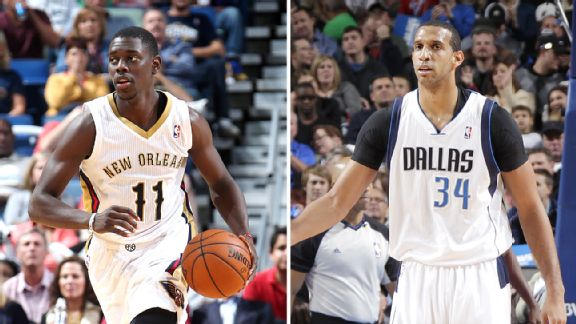 Brandan Wright and Jrue Holiday