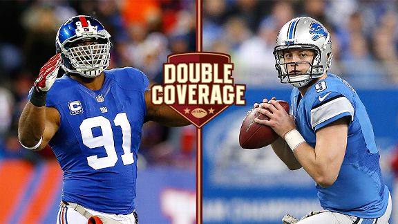 Justin Tuck and Matthew Stafford