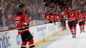 Damien Brunner #12 of the New Jersey Devils