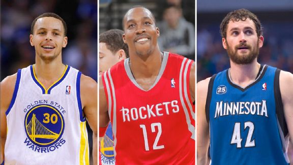 Steph Curry, Dwight Howard and Kevin Love