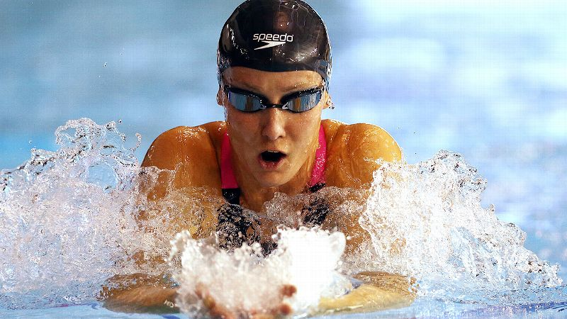 Jessica Hardy contributed to Team USAs victory by finishing first in the womens 100-meter breaststroke.
