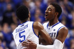 Andrew Harrison (left) and James Young led the Wildcats in scoring with 18 points apiece.