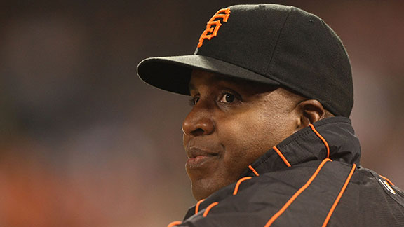 Barry Bonds #25 of the San Francisco Giants looks on during action against the San Diego Padres September 24,