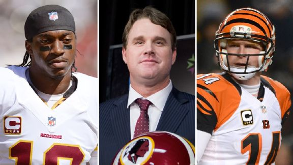 Robert Griffin III, Jay Gruden and Andy Dalton