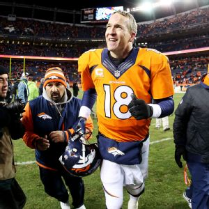 Peyton Manning was ready for a beer after the Broncos' win over the Chargers.