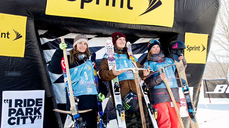 The women's slopestyle podium at day one of the Grand Prix finals at Park City, Utah: Kaya Turski (3rd), Devin Logan (1st) and Dara Howell (2nd).