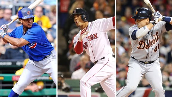 Starlin Castro, Xander Bogaerts, and Victor Martinez