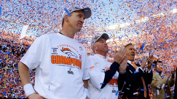 Peyton Manning, John Fox and John Elway