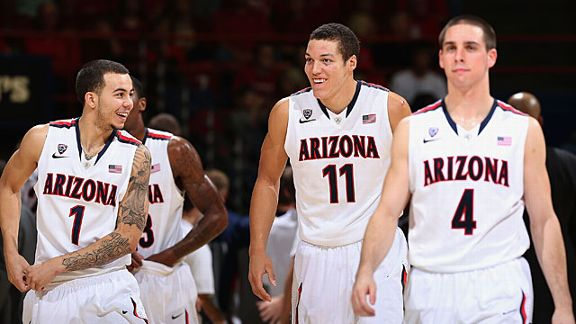 Gabe York #1, Aaron Gordon #11 and T.J. McConnell #4 of the Arizona Wildcats