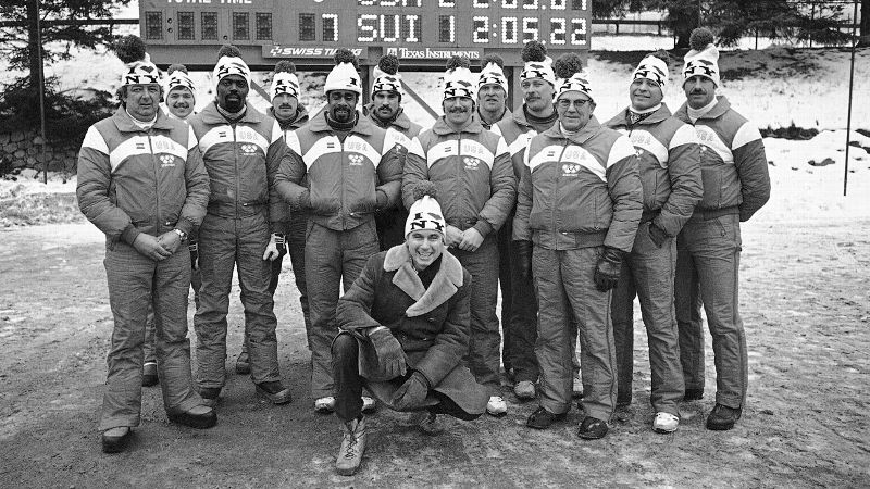 Willie Davenport, second from left, and Jeff Gadley, third from left,  became the first African-American men on a U.S. Winter Olympics roster in 1980. Davenport and Gadley, who were push athletes on the four-man bobsled squad, finished in 12th place in Lake Placid. i(Photo: AP)/i