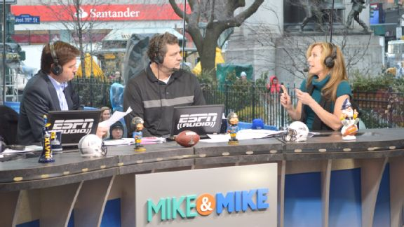 Mike Greenberg, Mike Golic and Linda Cohn