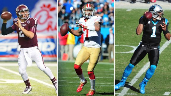 Johnny Manziel, Colin Kaepernick and Cam Newton