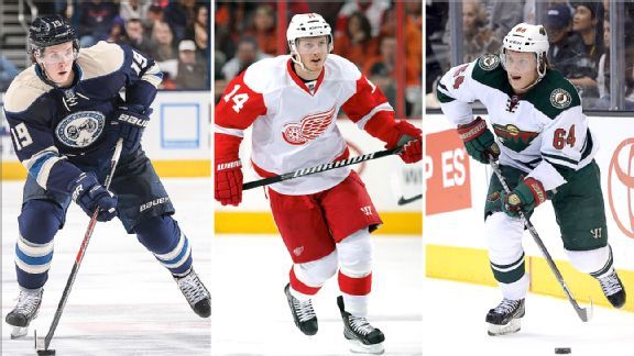 Ryan Johansen, Gustav Nyquist and Mikael Granlund