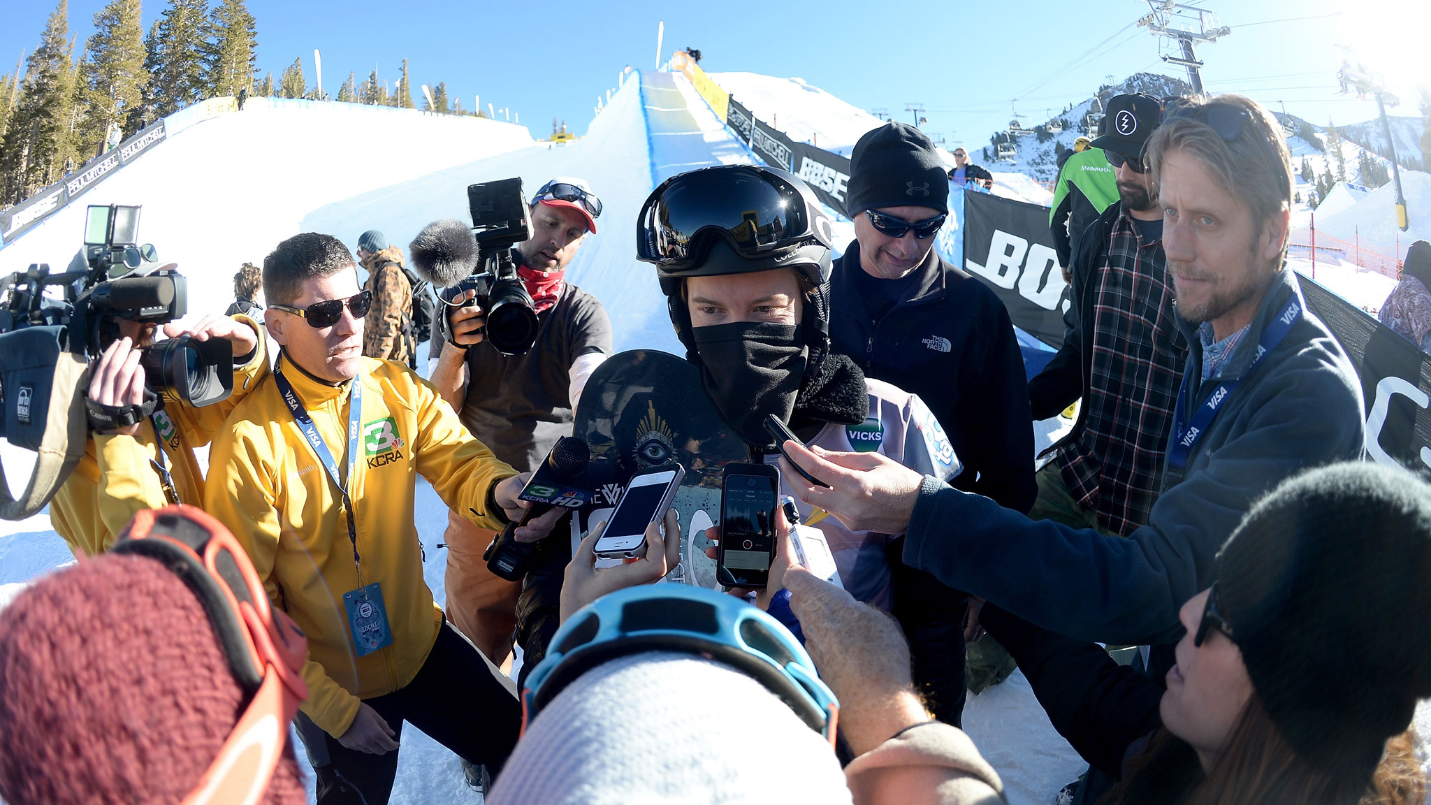 Shaun White talks to media after his win in the fourth U.S. Olympic qualifier at Mammoth. Of five pipe qualifiers this season, White won two, finished second to Greg Bretz in one and did not compete in two.