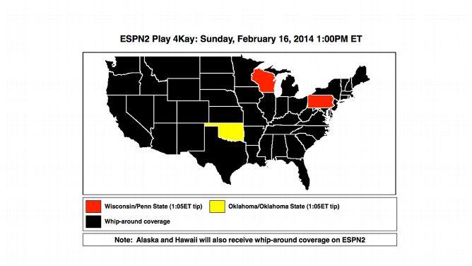 Women's Basketball: Sunday's Play 4Kay coverage maps