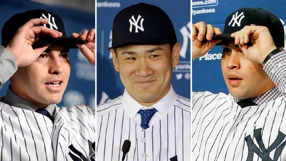 Jacoby Ellsbury, Masahiro Tanaka, and Carlos Beltran