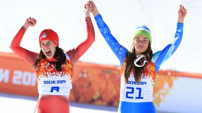 Feb. 12: W Silver Medalists Dominique Gisin and Tina Maze