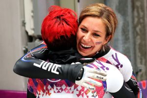 Katie Uhlaender did find someone to hug -- teammate Noelle Pikus-Pace -- after narrowly missing the medal stand.
