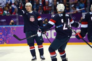 T.J. Oshie's first move after scoring the game-winner was to point out goaltender Jonathan Quick in the U.S. end.