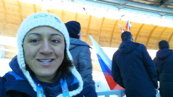 Elana Meyers at the track