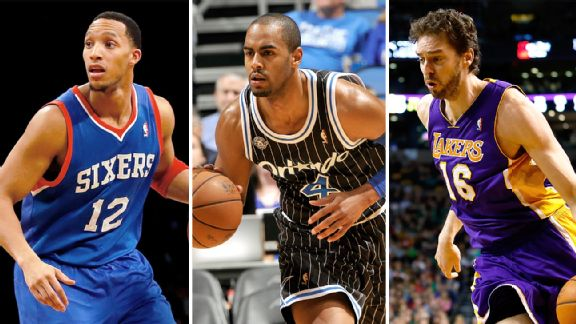 Evan Turner, Arron Afflalo and Pau Gasol