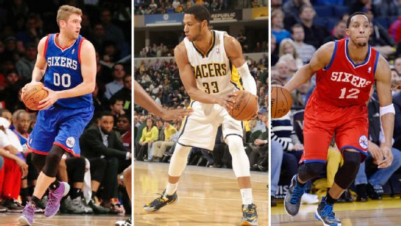 Spencer Hawes, Danny Granger and Evan Turner