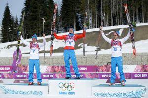 Alexander Legkov, Maxim Vylegzhanin, and Ilia Chernousov