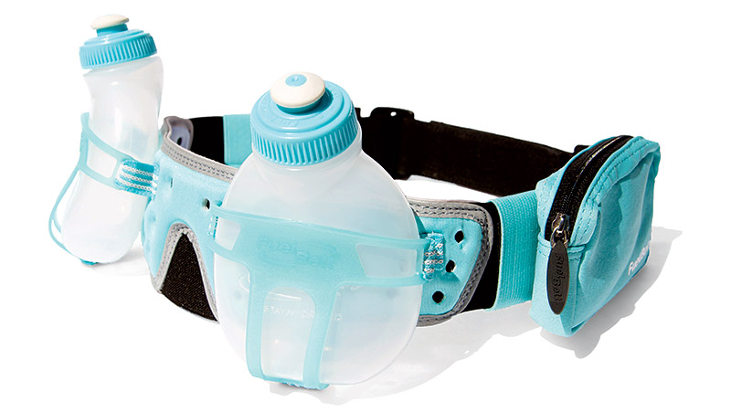 A waistbelt design, the Revenge R20 includes two 7-ounce BPA-free bottles. Marked by a plastic molded-holster system, the bottles slide in and out easily while you're in motion. A new silicone push-pull P2 bottle cap makes it easy to take a quick swig and then close it without additional spillage. If you prefer to have access to water and a sports drink, this is a great, customizable option.