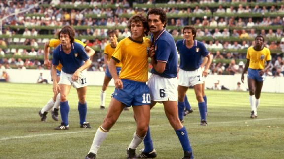 Brazil's Zico in action at the 1982 World Cup.