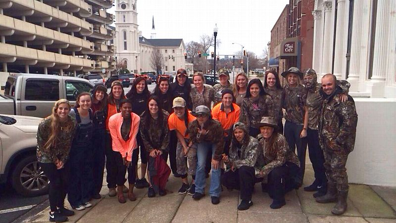 The FSU softball team got decked out in camouflage for a hunting-themed travel day.