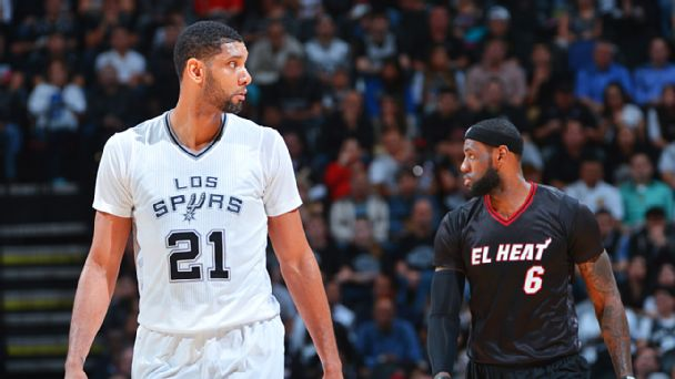 Tim Duncan and LeBron James