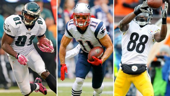 Jason Avant, Julian Edelman, and Emmanuel Sanders