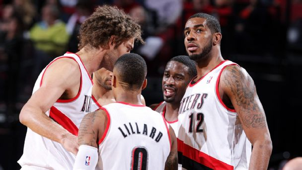 Portland Trail Blazers huddle