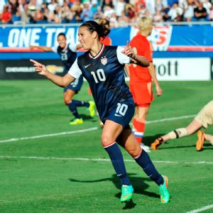 Carli Lloyd: The world's watching, and our character and the way we respond going forward from Algarve Cup is going to be key.