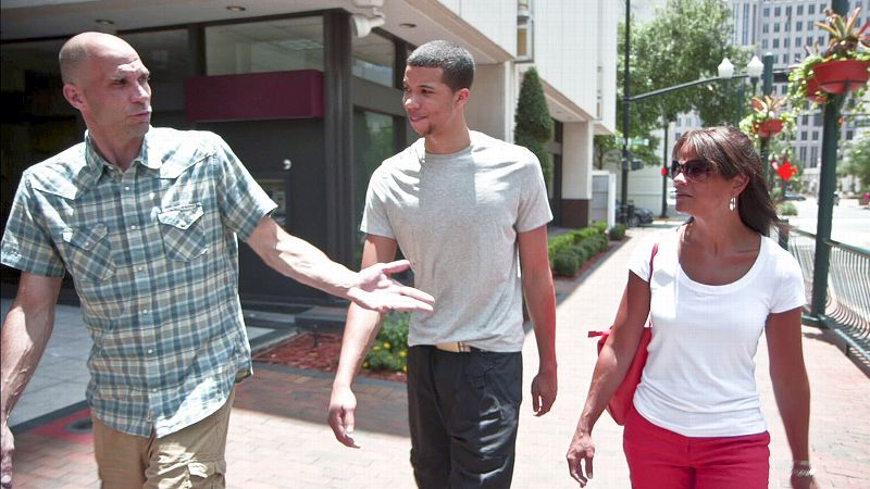 Sixers rookie Michael Carter-Williams, center, has a very close relationship with his mother Mandy Carter-Zegarowski, right, and stepfather Zach Zegarowski, left.