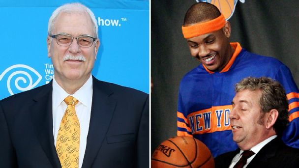 Phil Jackson, Carmelo Anthony and James Dolan