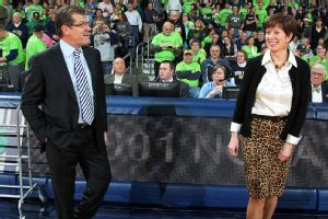 Muffet McGraw and Geno Auriemma