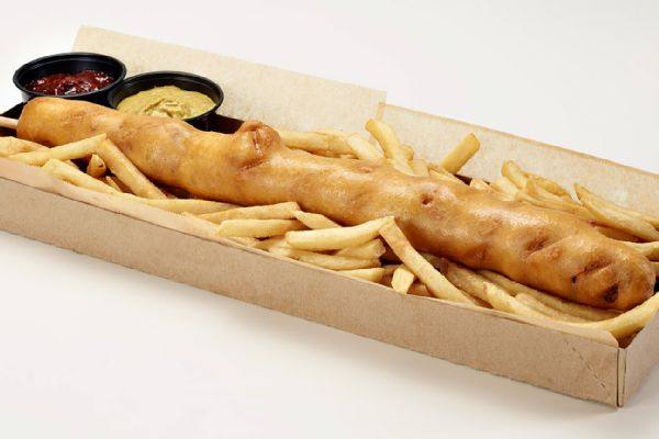... Dog -- an 18-inch corn dog stuffed with cheddar cheese, jalapenos and
