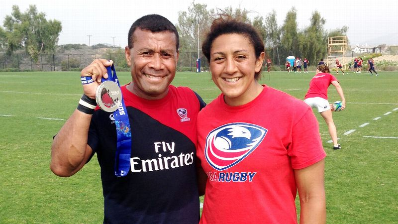 Elana Meyers, with rugby great Waisale Sereve. Meyers is already training with the U.S. national rugby team, in Chula Vista, Calif.