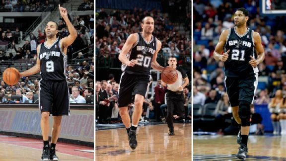 Tony Parker, Manu Ginobili and Tim Duncan