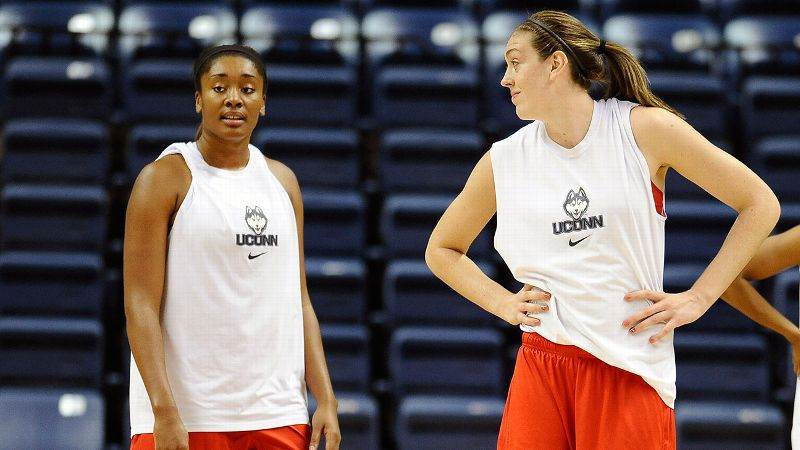 Breanna Stewart (right), first met UConn teammate Morgan Tuck at an Under-16 national team training camp.