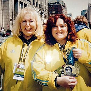 Boston Marathon volunteers Dianne Massa and Cheryl Parcellin