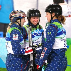 Ashley Caldwell (right) credits veteran Emily Cook (center) with showing her the ropes of aerial skiing and training as a pro athlete.